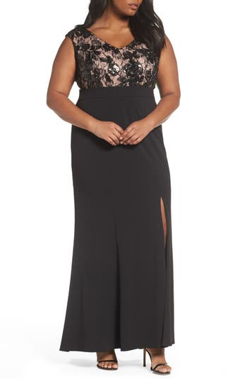 Plus Size Adrianna Papell Beaded Gown, Black