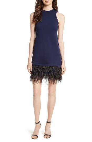 Milly Feather Hem Shift Dress, Blue