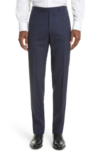 Men's Canali Flat Front Solid Wool Trousers