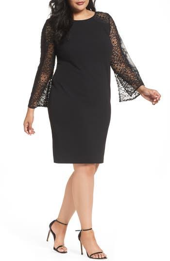 Plus Size Alex Evenings Bell Sleeve Shift Dress, Black