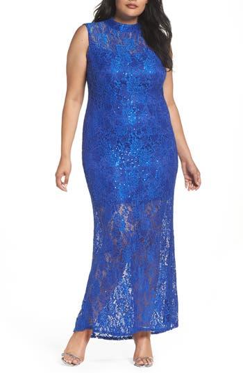 Plus Size Marina Illusion Lace Gown, Blue