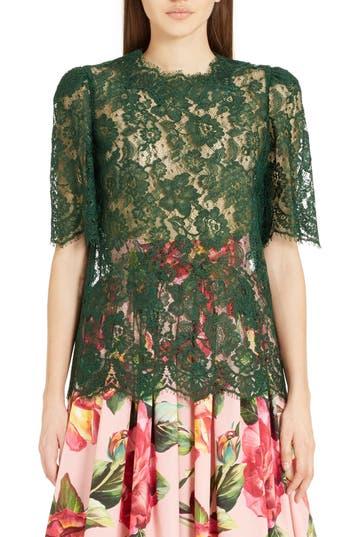 Women's Dolce & gabbana Lace Top, Size 6 US / 40 IT - Green