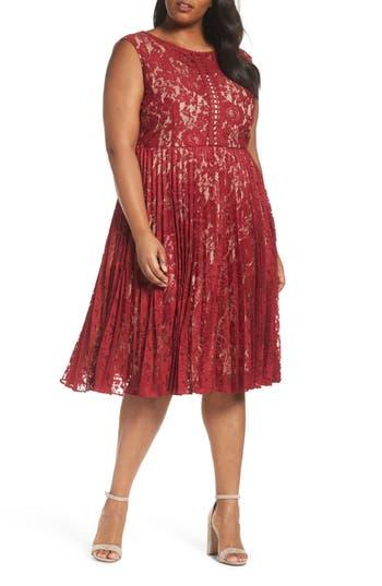 Plus Size Gabby Skye Illusion Lace Pleat Midi Dress