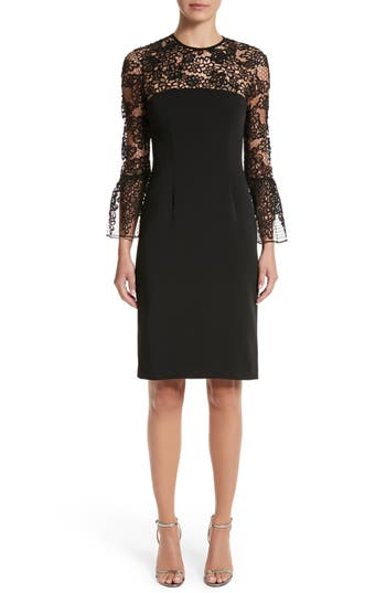 Carmen Marc Valvo Embroidered Lace Bell Sleeve Sheath Dress, Black