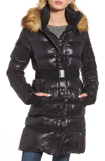S13 Chalet Hooded Puffer Coat With Faux Fur Trim, Grey