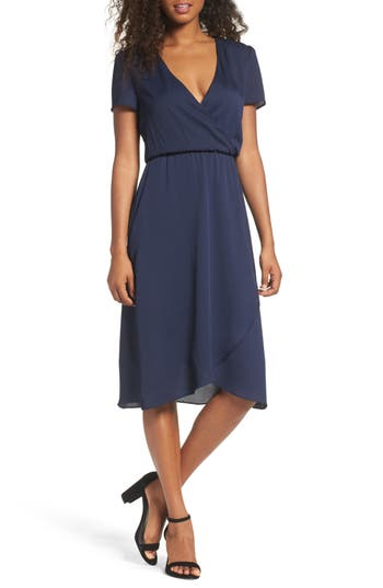 Women's Charles Henry Faux Wrap Midi Dress, Size X-Small - Blue