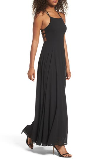 Lulus Strappy To Be Here Lace-Up Back Gown, Black