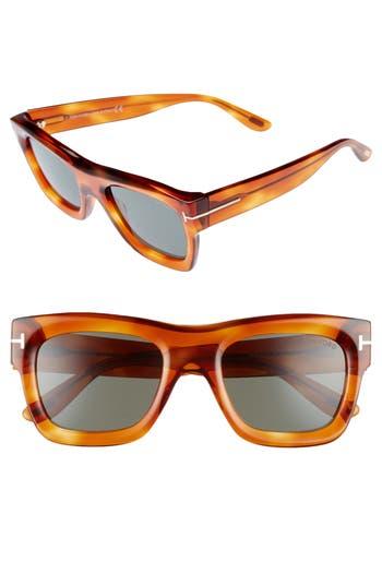 Tom Ford Wagner 52Mm Geometric Sunglasses - Blonde Havana/ Green