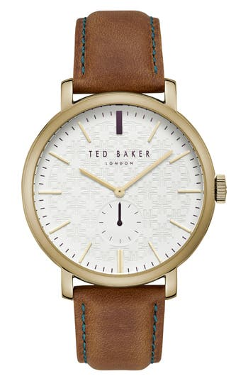Ted Baker London Trent Leather Strap Watch, 44mm