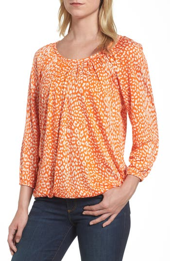 Women's Michael Michael Kors Cheetah Print Peasant Top, Size X-Small - Orange