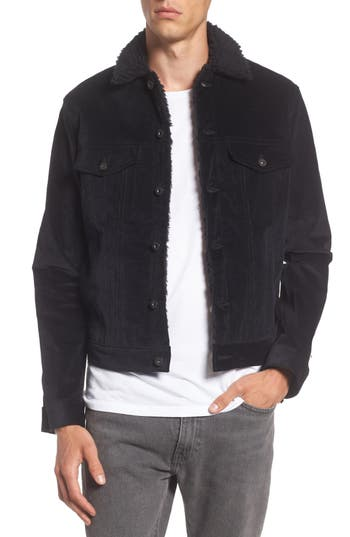 Men's Naked & Famous Denim Corduroy Jacket With Faux Shearling Trim, Size Small - Black
