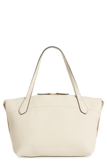 Burberry Welburn House Check & Leather Tote - Ivory