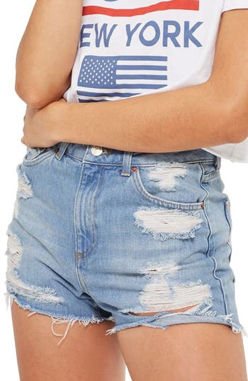 Petite Women's Topshop Ripped Longline Mom Shorts