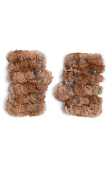Jocelyn Genuine Rabbit Fur Fingerless Knit Mittens, Size One Size - Beige