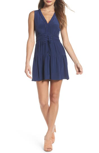 Greylin Bilson Fit & Flare Silk Dress, Blue