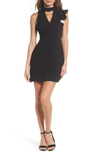 Adelyn Rae Ruffle Choker Dress, Black