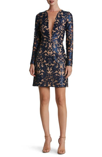 Dress The Population Claudia Plunging Illusion Sequin Lace Minidress, Blue