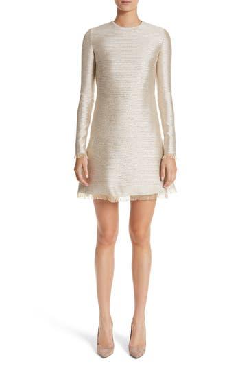 Oscar De La Renta Sequin Lame Tweed Dress, Metallic