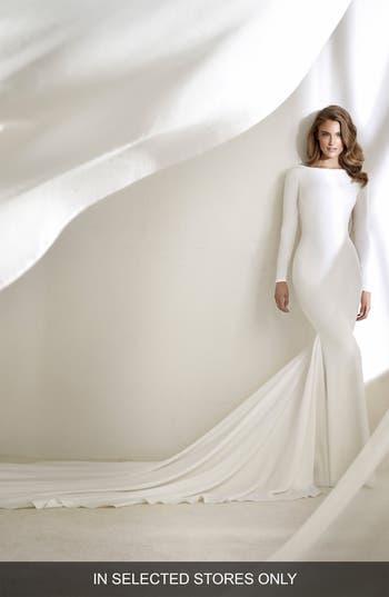 Atelier Pronovias Resal Fringe Back Mermaid Gown, Size - Ivory