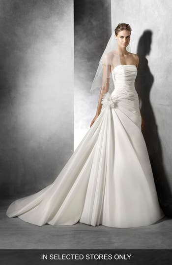 Pronovias Semilla Strapless Ruched A-Line Gown, Size IN STORE ONLY - Ivory