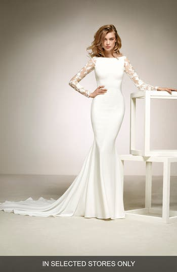 Pronovias Dafne Lace Sleeve Mermaid Gown, Size IN STORE ONLY - Ivory