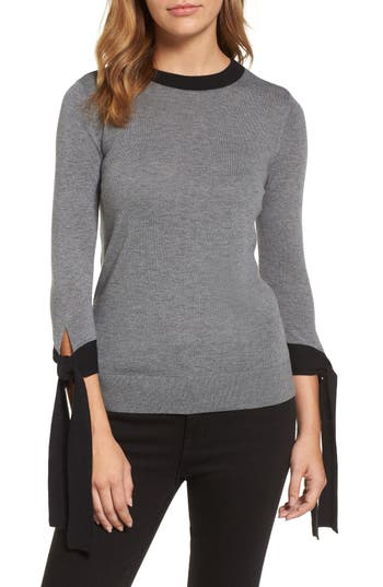 Halogen Tie Sleeve Crewneck Sweater, Grey
