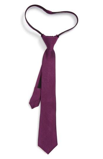 Boy's Nordstrom Solid Silk Zip Tie, Size One Size Big Boy - Purple