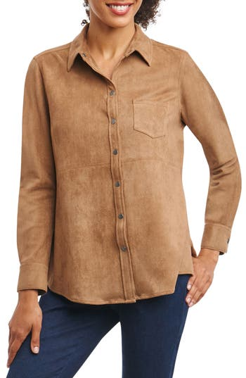 Foxcroft Jena Faux Suede Shirt, Brown