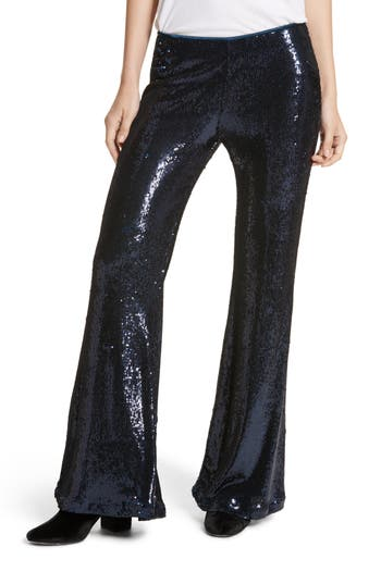 Free People The Minx Sequin Flare Pants, Blue