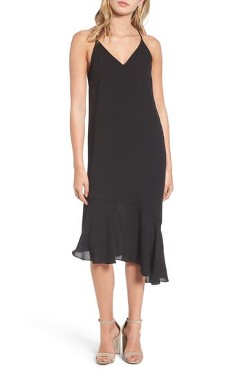 Women's Soprano Asymmetrical Midi Dress, Size X-Small - Black