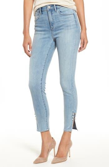 Women's Treasure & Bond X Something Navy Pearl Crop Skinny Jeans, Size 32 - Blue