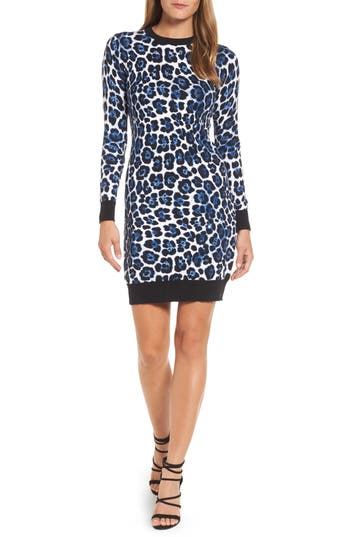 Michael Michael Kors Cheetah Print Sweater Dress, Blue