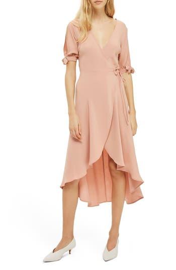 Women's Topshop Dusty Emma Tie Sleeve Wrap Dress, Size 2 US (fits like 0) - Beige