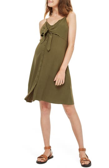 Topshop Molly Knot Front Maternity Sundress, US (fits like 0-2) - Green
