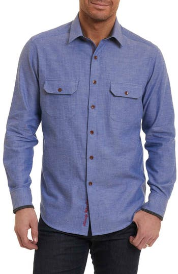 Men's Robert Graham Upstate Classic Fit Herringbone Sport Shirt, Size Small - Blue
