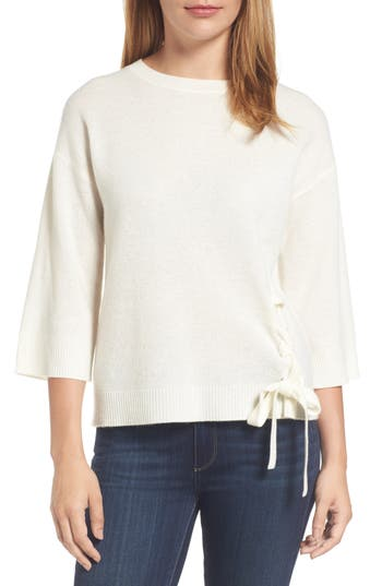 Halogen Side Tie Wool And Cashmere Sweater, Ivory