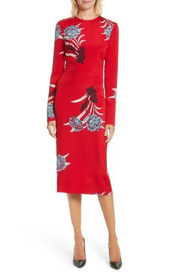 Diane Von Furstenberg Floral Print Sheath Dress, Red