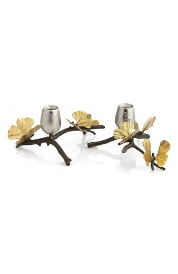 Michael Aram Butterfly Ginkgo Set Of 2 Candle Holders, Size One Size - Metallic