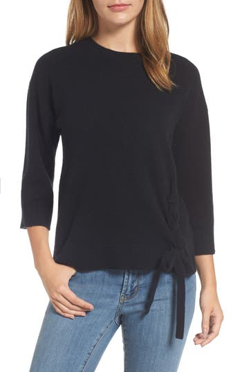 Halogen Side Tie Wool And Cashmere Sweater, Black
