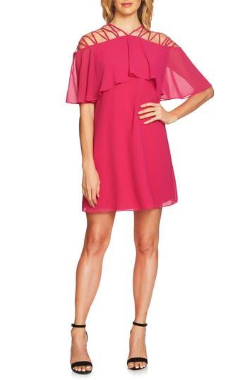 Cece Taylor Lattice Chiffon Shift Dress, Pink
