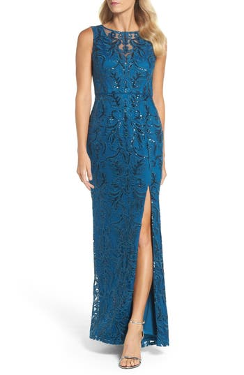 Adrianna Papell Sequin Scroll Gown, Blue