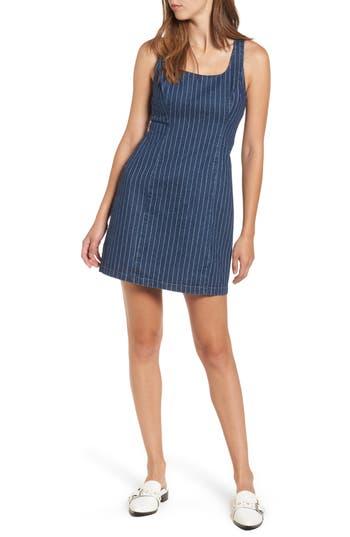 Lush Stripe Denim Dress, Blue