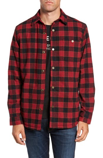 Men's Timberland Check Shirt Jacket With Faux Shearling Lining, Size Small - Red