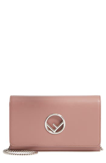 Fendi Liberty Logo Calfskin Leather Wallet On A Chain - Pink
