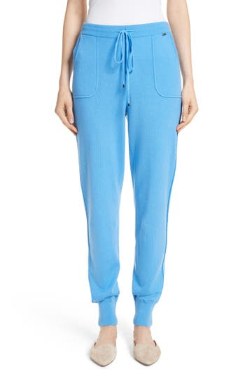 St. John Collection Cashmere Jersey Pants, Size Petite - Blue