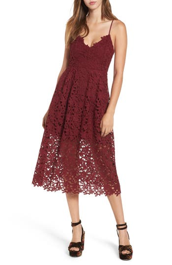 Astr The Label Lace Midi Dress, Red