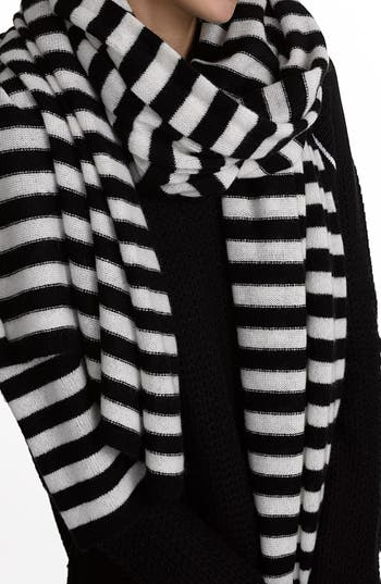 Women's White + Warren Travel Stripe Cashmere Wrap, Size One Size - Black