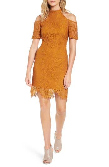 Love, Fire Lace Cold Shoulder Dress, Brown