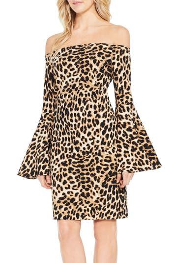 Vince Camuto Animal Print Off The Shoulder Dress, Black