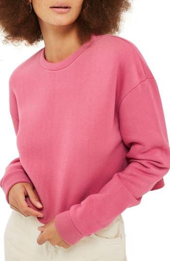 Topshop Crop Sweatshirt, US (fits like 0) - Pink